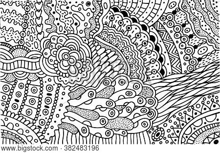 Surreal Doodle Pattern For Coloring Book For Adults. Coloring Page With Floral Abstract Motifs. Psyc