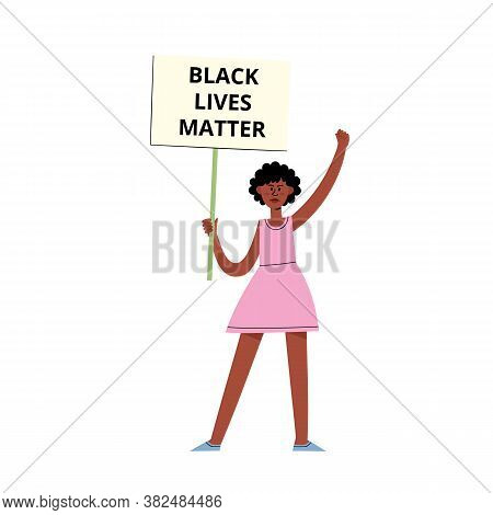 Black Lives Matter Vector Concept With Afroamerican Woman On Demonstration