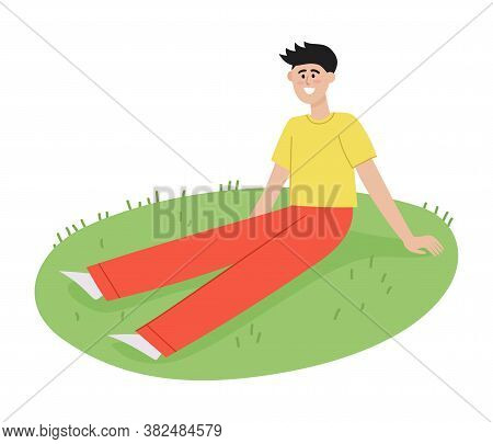 Vector Illustration Of Summer Picnic With Man Sitting On Blanket