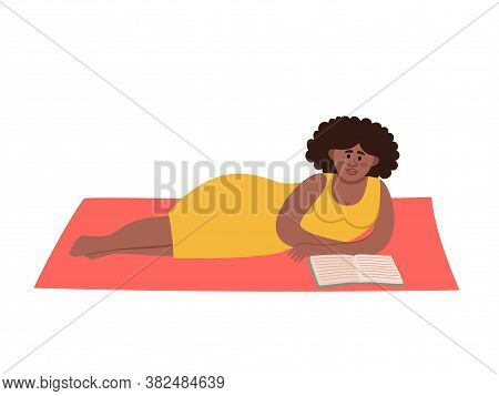 Vector Illustration Of Summer Picnic With Afro-american Woman On Blanket