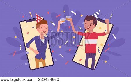 Happy Boys Hosting Online Party, Gathering To Celebrate By Smartphone. Young Men Using Mobile Phone