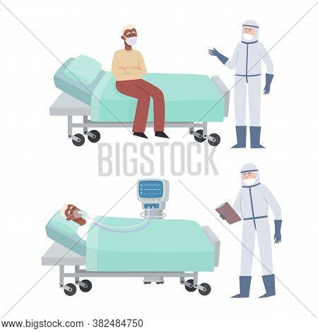 Vector Set Of Patient And Doctor In Prevention Clothes