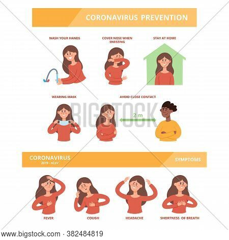 Vector Set Of Different Symptomps Of Coronavirus And Prevention Information