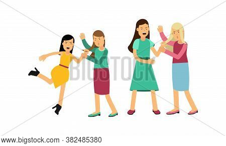 Warring Females Fighting And Yelling At Each Other Vector Illustration Set