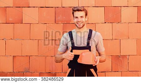 Inspect Diagnose Problems Figure Out Way Correct. Man Build House. Inspecting Building. Worker Brick