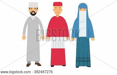 Man Representatives Of Different Religion Like Islamism And Catholicism Vector Illustration Set