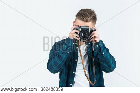 Teen Guy With Retro Photo Camera. Young Talented Photographer. Faculty Of Journalism Student. Vintag