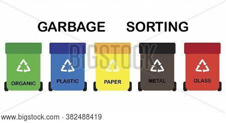 Trash Cans. Garbage Bins For Recycling. Separate Garbage Collection. Recycling Sign. Garbage Segrega