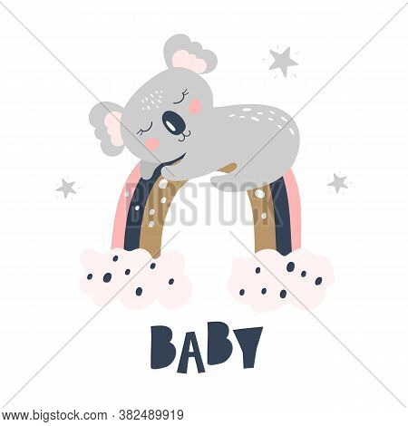 Card With Cute Koala On The Rainbow On A White Ackground. Kids Print. Vector