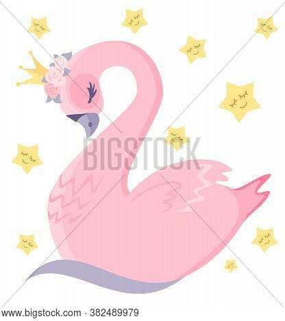 Lovely Pink Swan. The Swan Princess. Illustration For Children, Print On A T-shirt For A Child. Bird
