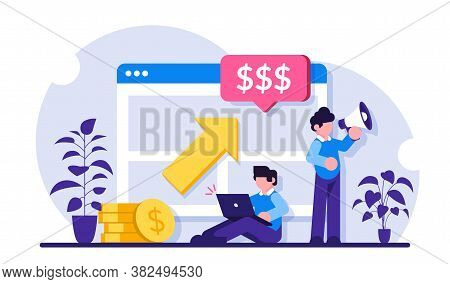 Ppc Campaign Concept. Pay Per Click Illustration. Man With A Laptop And A Loudspeaker Advertise A Pr