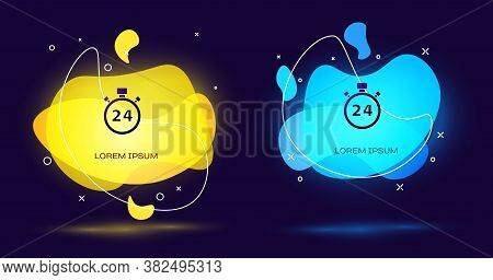 Black Stopwatch 24 Hours Icon Isolated On Black Background. All Day Cyclic Icon. 24 Hours Service Sy