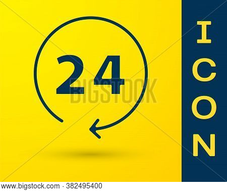 Blue Clock 24 Hours Icon Isolated On Yellow Background. All Day Cyclic Icon. 24 Hours Service Symbol