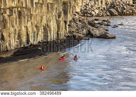 Dettifoss Waterfall , Iceland- 24 August 2015: Tourists Kayaking On The Jokulsa A Fjollum River At T