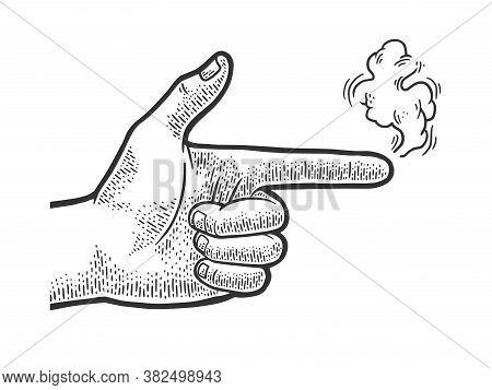 Gun Pistol Hand Gesture With Smoke Sketch Engraving Vector Illustration. T-shirt Apparel Print Desig