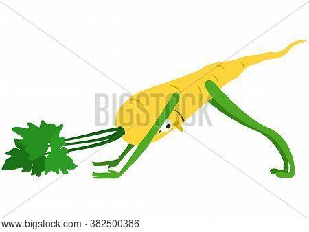 Cartoon Parsnip Practicing Yoga Asana Downward Facing Dog