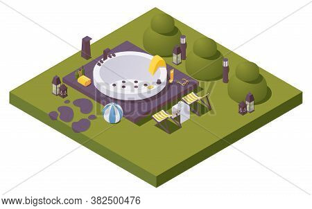 Vector Isometric Large Outdoor Spa Pool In Backyards With Trees, Lightning And Sccessories For Bath