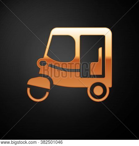 Gold Taxi Tuk Tuk Icon Isolated On Black Background. Indian Auto Rickshaw Concept. Delhi Auto. Vecto