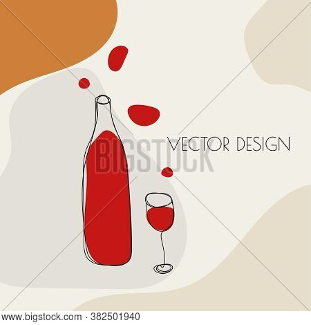 Wine Glass And Bottle Of Red Wine In Sketch Style. Vector Concept Illustration Of Alcoholic Drinks.