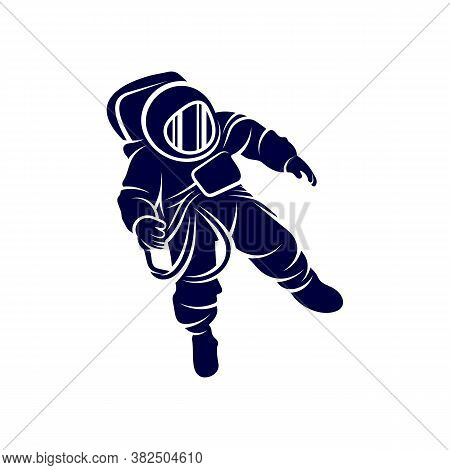 Astronaut Design Vector Template, Astronaut In Space Icon, White Background, Spacesuit, Helmet, Plan