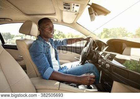 Happy Black Guy In Casual Driving Car, Inside Shot, Copy Space