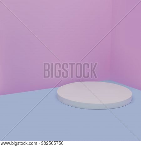 3d Vector Illustration. Minimal Round White Podium In Pink And Blue. Background Abstract, Minimalist