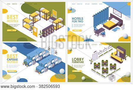 Vector Isometric Set Landing Page Of Hotel, Hostel, Lobby And Capsule Hotel Without People.