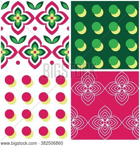Retro Geometric Mid-century Modern Vector Seamless Pattern Collection - Sixties And Seventies Style,