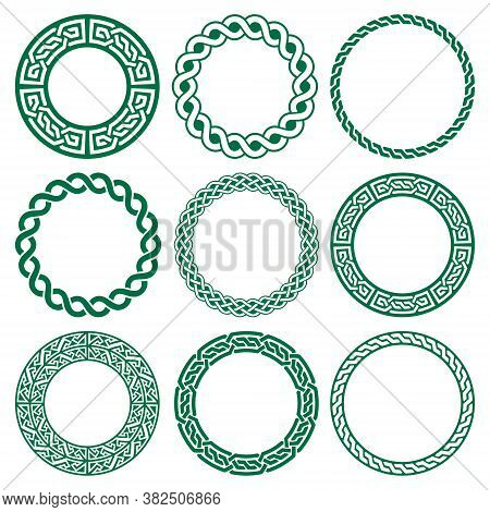 Irish Celtic Vector Mandala Design Set, Green Braided Round Patterns - Perfect For Greeting Card And