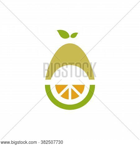 Avocado Fruit Logo Template. Avocado Half With Orange Vector Design. Health Food Logotype