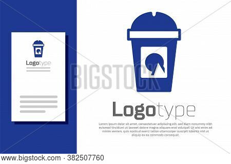 Blue Coffee Cup To Go Icon Isolated On White Background. Take Away Print. Logo Design Template Eleme