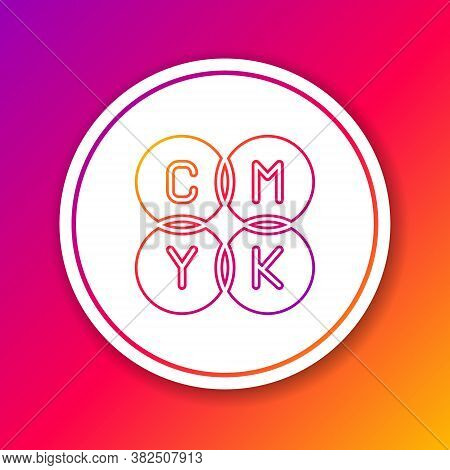 Color Line Cmyk Color Mixing Icon Isolated On Color Background. Circle White Button. Vector