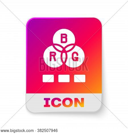 White Rgb Color Mixing Icon Isolated On White Background. Rectangle Color Button. Vector