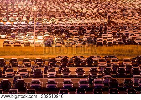 Volkswagen, Russia, Kaluga - August 26, 2020: New Cars Parked At Distribution Center Automobile Fact