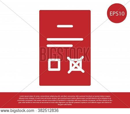 Red Poll Document Icon Isolated On White Background. Vector