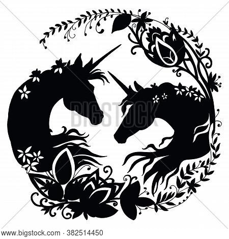 Vector Unicorn With Long Mane In Circle Composition. Black Silhouette Template Illustration Isolated