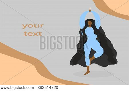 Black-skinned Girl With Long Hair And Raised Arms Is Doing Yoga While Standing. Web Page. Copy Space