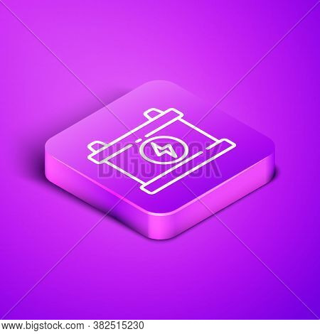 Isometric Line Car Battery Icon Isolated On Purple Background. Accumulator Battery Energy Power And
