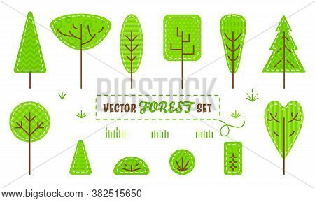Set Of Patch Stylized Forest Plants: Trees, Bushes And Grass Isolated On White Background. Concept F