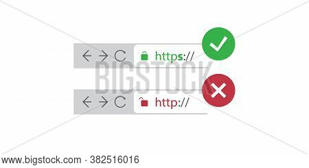 Browser Address Bars Showing Secure And Insecure Web Addresses - Mandatory Secure Browsing, Encoded