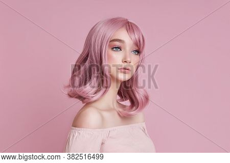 Portrait Of A Sexy Young Woman With Pink Hair. Perfect Hairstyle And Hair Coloring. Girl With Beauti