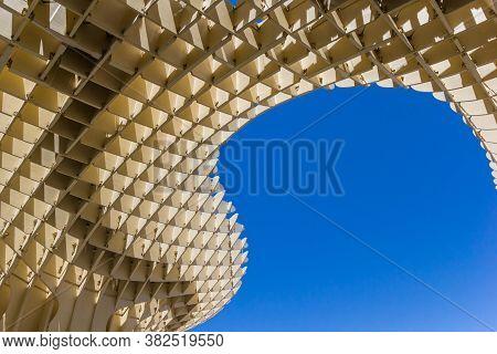 Sevilla, Spain - May 14, 2019: Roof Of The Modern Wooden Construction Of The Setas De Sevilla In Spa
