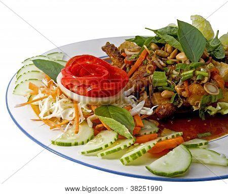 Spicy Fish Herb Salad,thai Style