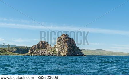 Shamanka Rock On Olkhon. Cape Burhan. Beautiful Landscape Of Siberian Baikal Lake. Concept Of Travel