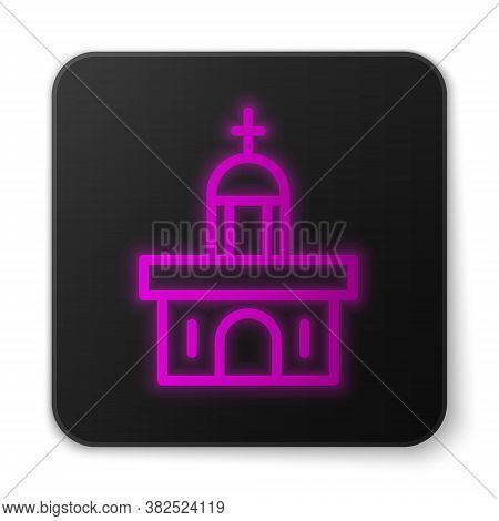 Glowing Neon Line Church Building Icon Isolated On White Background. Christian Church. Religion Of C