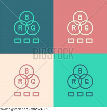 Pop Art Line Rgb Color Mixing Icon Isolated On Color Background. Vector
