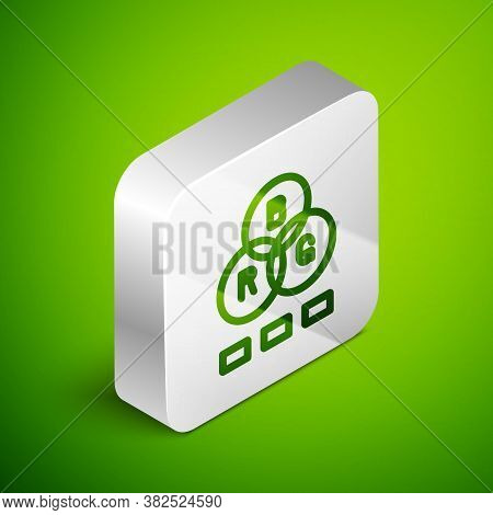 Isometric Line Rgb Color Mixing Icon Isolated On Green Background. Silver Square Button. Vector