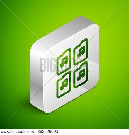 Isometric Line Music File Document Icon Isolated On Green Background. Waveform Audio File Format For