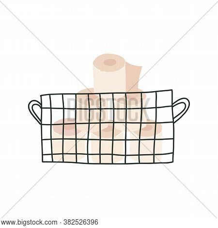 Basket With Soft Tissue Paper Or Loo Rolls In Metal Storage Basket. Vector Hand Drawn Isolated Illus