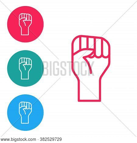 Red Line Raised Hand With Clenched Fist Icon Isolated On White Background. Protester Raised Fist At